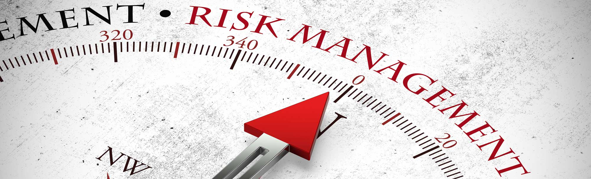 compass needle pointing at risk management written in red